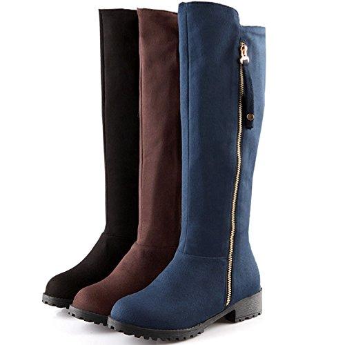 DoraTasia High Knee Ladies Suede Faux Blue Zipper Fashion Calf Wide Women's Boot Riding 0wraq0