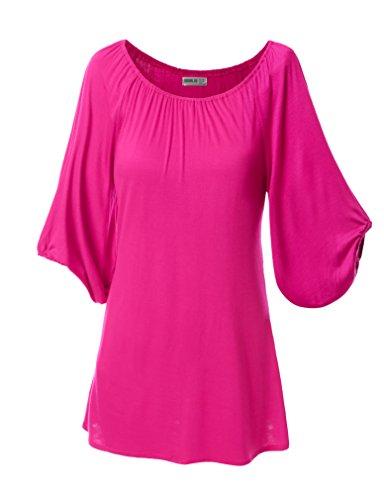 SJSP Womens Easy to Wear Printed 3/4 Sleeve Big Size Tunic FUCHSIA,XL