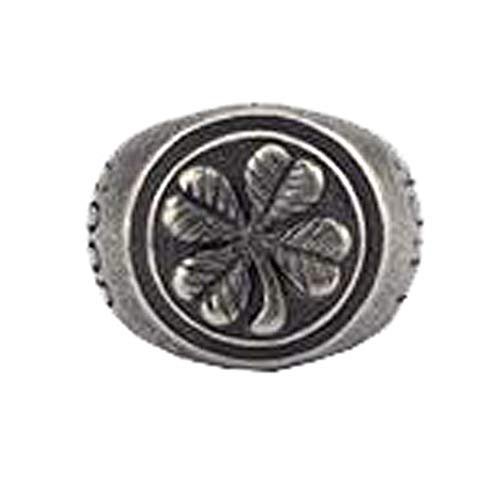 PAMTIER Men's Stainless Steel Gold Four-Leaf Clover Good Luck Signet Ring High Polished Antique Silver Size ()