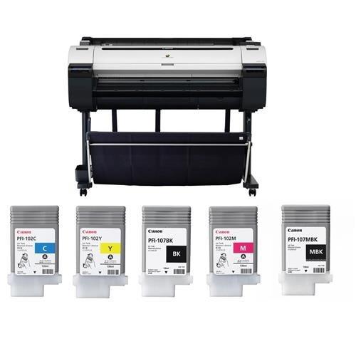 "Canon imagePROGRAF iPF770 36"" Large-Format Inkjet Photo Printer, Bundle With PFI-107 130ml Ink Tanks Includes Black/Cyan/Magenta/Matte Black/Yellow"