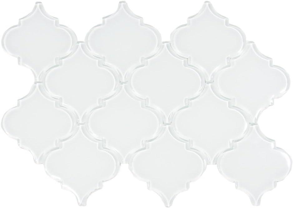Backyard Gas Fire Pit Ideas, Amazon Com White Arabesque Glass Tile Sample Swatch Home Kitchen
