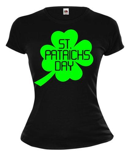 buXsbaum Girlie T-Shirt St Patricks Day-M-Black-Neongreen