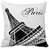 Moslion Stylish Black and White Paris of Tower Pillow Decorative Pillowcase Throw Pillow Cushion Cover Flower Pattern Design Cushion Cover Pillow Case Collection
