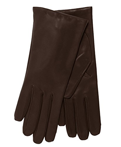 (Fratelli Orsini Everyday Women's Italian Cashmere Lined Leather Gloves Size 7 Color Brown )