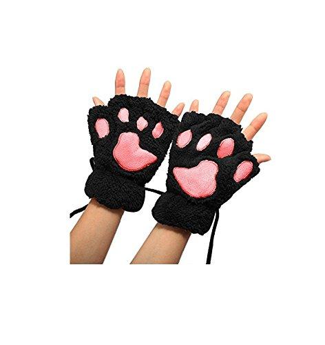 Yeah67886Morbidi guanti invernali a forma di zampe di gatto, da ragazza (nero)