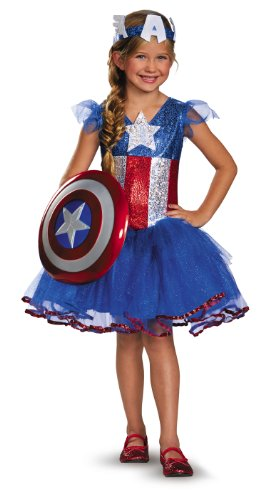 [Disguise Marvel Captain America American Dream Girl's Tutu Prestige Costume, X-Small (3T-4T)] (Girl Marvel Character Costumes)