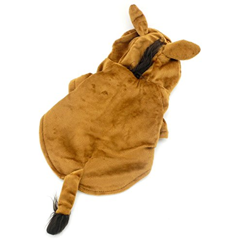 SELMAI Small Pet Mane Horse Halloween Costume Fleece Dog Coat Puppy Clothes Hooded Dog Winter Jacket Brown (Dog Haloween Costume)