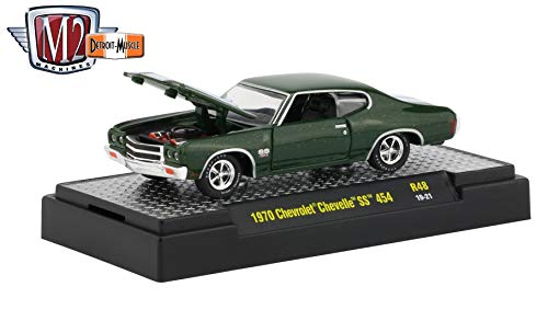 M2 Machines 1970 Chevrolet Chevelle SS 454 (Forest Green) - Detroit Muscle Release 48 Castline 2019 Premium Edition 1:64 Scale Die-Cast Vehicle & Custom Display Base (R48 19-21)
