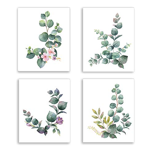 Eucalyptus Leaf Canvas Wall Art Painting Tropical Plant Leaves Pink Flower Art Print Botanical Wall Decor for Living Room Home Wall Decoration Set of 4 Unframed (8x10 Inch)
