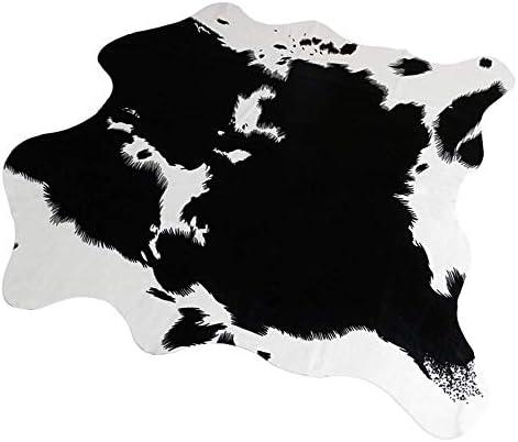 MustMat Cute Cow Print Rug Black and White Faux Cowhide Rugs Animal Printed Area Rug Carpet