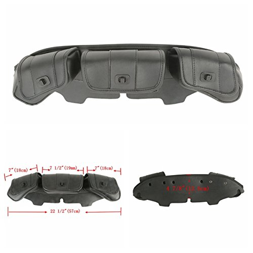 XFMT Windshield Bag Tri Pouch 3 Pocket Compatible with Harley Touring Electra Street Glide 1996-2013