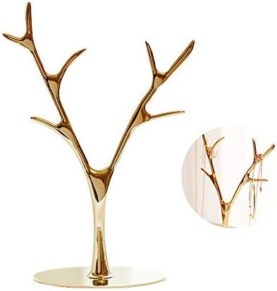 WING Metall Schmuckständer Ohrring Kette Halskette Ring Schmuck Baum Schmuckhalter Schmuckständer Aufbewahrung Veranstalter Rack,Gold
