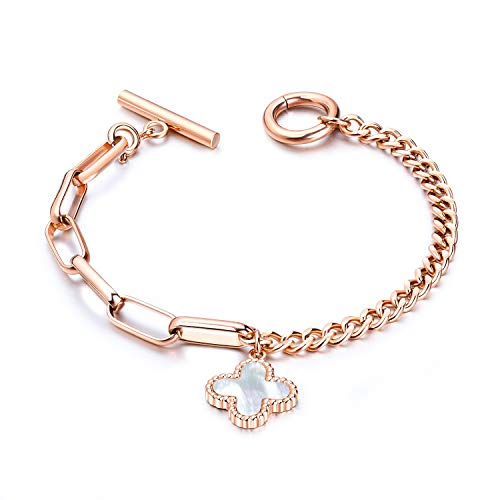 - Fashion Ahead Four Leaf Clover Hearts Charm Toggle Bracelet for Women Silver Rose Gold Stainless Steel Link Chain, 7.3 inches (Rose Gold-Four Leaf Clover)