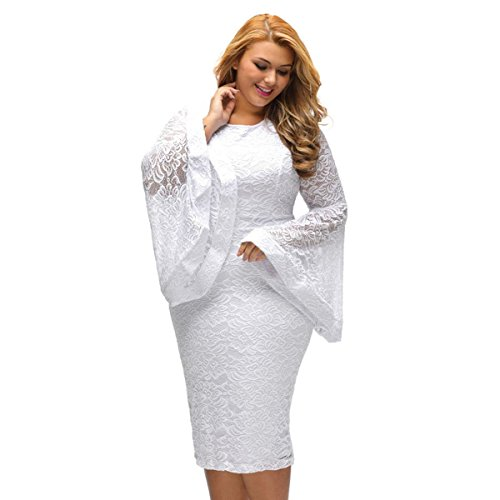 Dress Bell Dress Party Plus White Sleeves Lace SUGARWEWE Sexy Size Plus qtRYYT