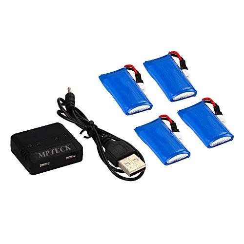 MPTECK--Batera-Lipo-de-repuesto-37V-380mAh-x4-4-en-1-Cargador-para-RC-Cuadricptero-Hubsan-X4-X-4-H107D-H107C-FPV-Drone