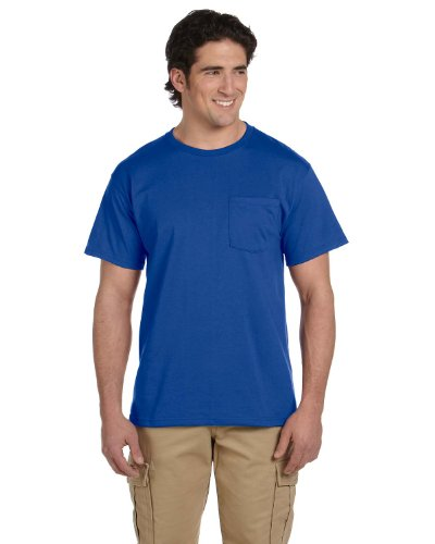 - JERZEES Mens Heavy Blend Cotton/Poly Pocket T-Shirt, XL, Royal