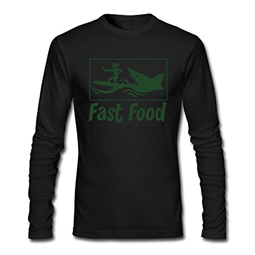 Nacustom Men's Fast Food Long Sleeve T-Shirt S Black