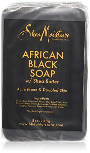Shea Moisture African Black soap with Shea butter, 8.0 oz (230 gms), pack of 4