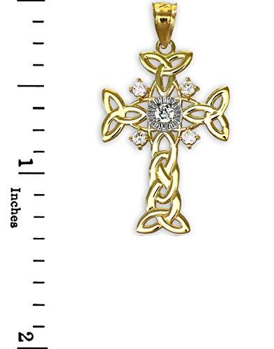 Petits Merveilles D'Amour - 10 ct Celtiquees 471/1000 Deux tons d'or en-Croix Celtique Pendentif diamant