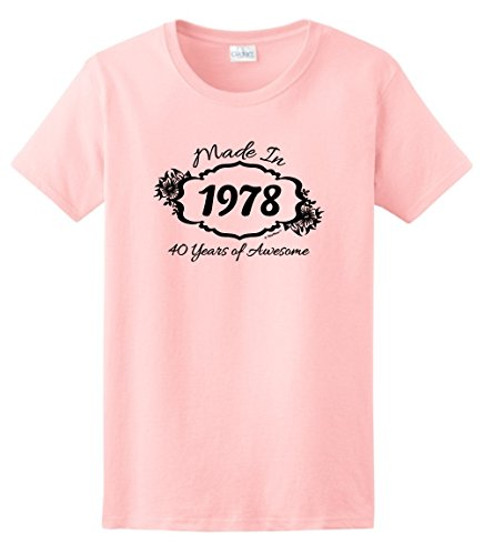 40th Birthday Gifts for Dad 40th Birthday Gift Made 1978 40 Years Awesome Ladies T-Shirt 2XL Light (Awesome Womens Light T-shirt)