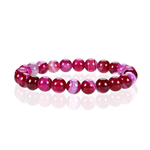- Cherry Tree Collection Gemstone Beaded Stretch Bracelet 8mm Round Beads 7