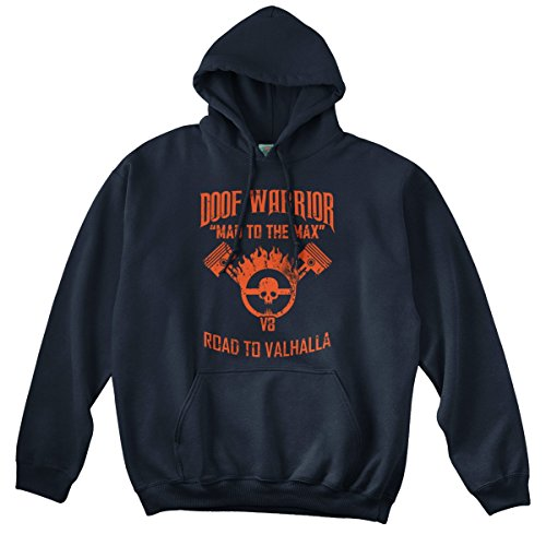 BathroomWall MAD MAX Fury Road Inspired Doof Warrior, Hoodie, Large, Navy Blue (Mad Max Fury Road Blu Ray Release)