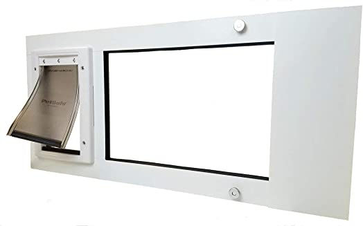 Patio Pacific Inc. Vertical Window Cat Door Insert with Small Vinyl Pet Door