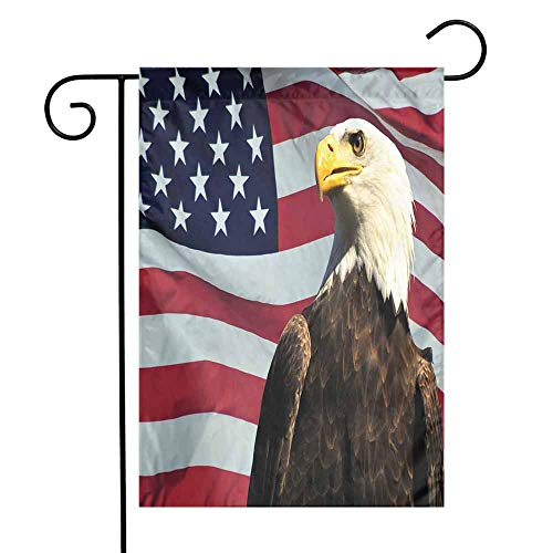 Mannwarehouse Eagle Garden Flag United States of America Flag with Symbol of The Country Looking into The Horizon Premium Material W12 x L18 Multicolor