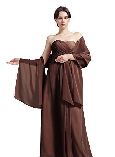 "Sheer Soft Chiffon Bridal Women's Shawl For Special Occasions Cocoa 79"" Long 20"" Wide"