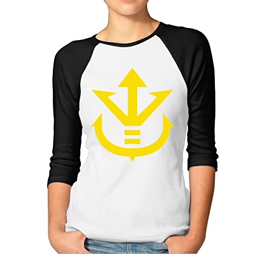 MBMH Women's Vegeta Dragon Ball Z Logo Raglan Tee Baseball Shirt Black Size XXL