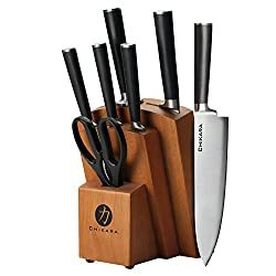 Ginsu Chikara Series Fully Forged 8-piece Japanese Steel Knife Set ? Cutlery Set With 420j Stainless Steel Kitchen Knives ? Toffee Finish Block, 07138ds