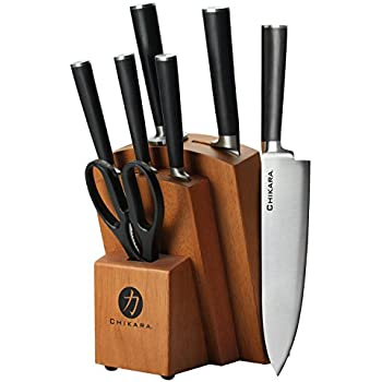 Ginsu Gourmet Chikara Series Forged 8-Piece Japanese Steel Knife Set – Cutlery Set with 420J Stainless Steel Kitchen Knives – Finished Hardwood Block, 07138DS