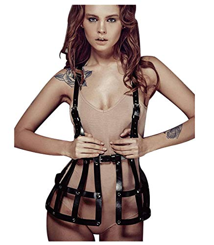 Lvow Women Punk Leather Adjustable Body Chest Harness Belt Weave Skirts Lingerie Party Costume (Black)