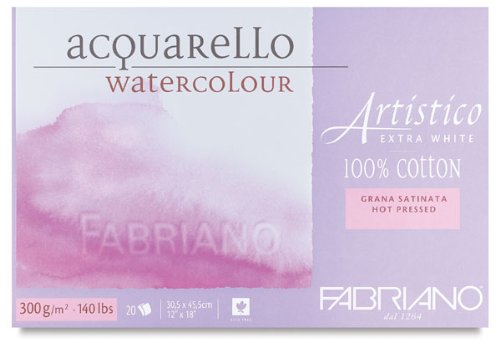 Fabriano Artistico 140 lb. Hot Press 20 Sheet Block 12x18