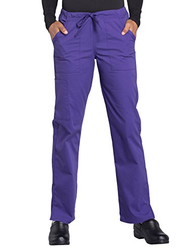 Cherokee WW Professionals WW160 Mid Rise Straight Leg Drawstring Pant Grape L Petite
