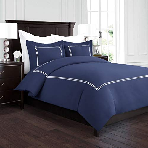 Beckham Hotel Collection Luxury Soft Brushed 2100 Series Embroidered Microfiber Duvet Cover Set with Beautiful 2-Stripe Embroidery - Hypoallergenic - Full/Queen - Navy/White
