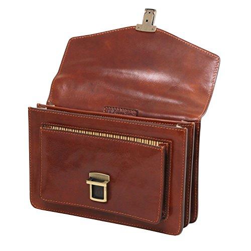 Tuscany Leather Eric - Bolso para hombre en piel - TL141443 (Marrón oscuro) Marrón oscuro