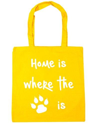 HippoWarehouse Home Is Where The Cat is Einkaufstasche Fitnessstudio Strandtasche 42cm x38cm, 10 liter - Gelb, One size