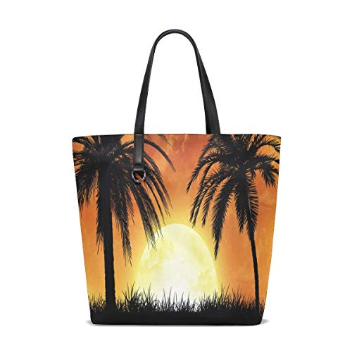 905846af57f8 One Palm Trees Sunset Tote Bag Purse Handbag Womens Gym Yoga Bags for Girls