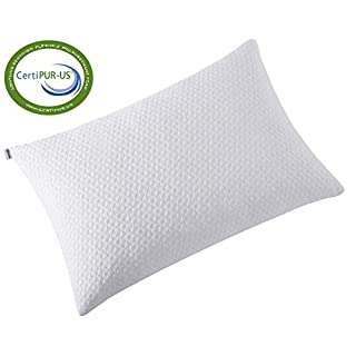 TEKAMON Shredded Memory Foam Bed Pillows for Sleeping with Washable Bamboo Cover,Cooling Hypoallergenic Bed Pillow for Back and Side Sleeper CertiPUR-US,White (Standard 1-Pack