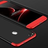 Cekuonline Huawei P9 Lite 2017 Kılıf 360 Derece Ön Arka Korumalı Sert Rubber Siyah-Kırmızı Kapak