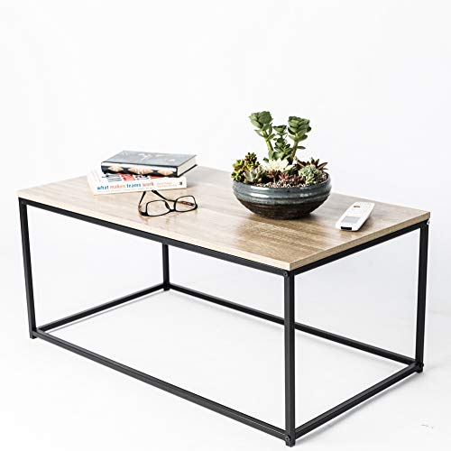 C-Hopetree Coffee Table Rectangle TV Stand Vintage Cocktail End Table Living Room Modern Industrial Wood Look Sturdy Metal Frame