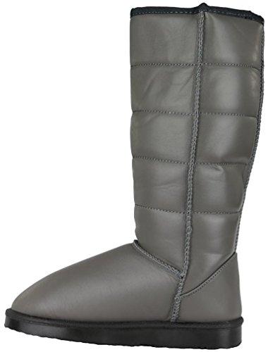 Damen Schneestiefel Schnee Winterstiefel Winter Stiefel warm gefüttert Boots hoch Grau