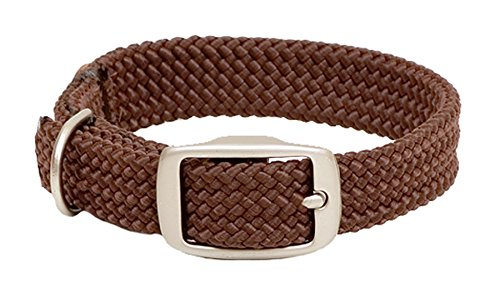 [Mendota Products Double Braid Dog Collar, Brown, 1 x 18-Inch] (Brn Buckle)
