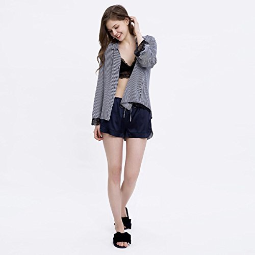 MH-RITA Pijama de verano trajes femeninos encajes flojos temperamento camisetas pijamas Verano Mujer mangas largas franjas de Cortometrajes de desgaste Inicio M (100~120 lb) S (80~100 lb)