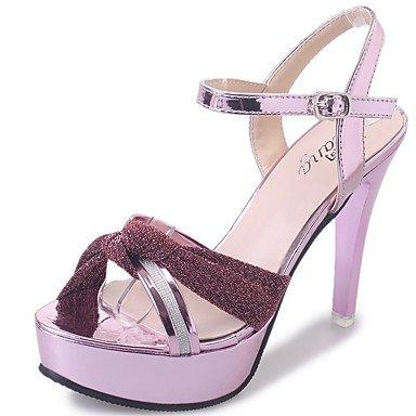 LvYuan Mujer-Tacón Stiletto-Talón Descubierto Zapatos del club-Sandalias-Boda Exterior Oficina y Trabajo Vestido Informal-Cuero-Rosa Plata Oro Silver