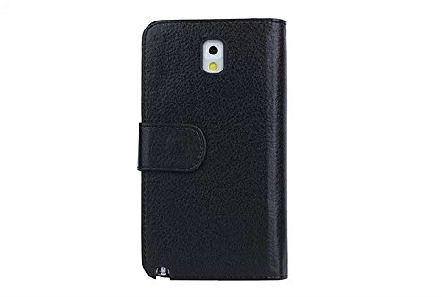 (Case for Samsung Galaxy Note 3/N900A) Bon Venu Business simplicity Luxury Wallet Purse style Synthetic Faux leather material Lady PU Magnetic famous brand Women Essential Genuine Leather Clutch Folded bag wallet with Photo Frame Credit ID Card Slot Pocket Large note holder solid color case cover for Note 3/N900A+ Screen Protector (Black)