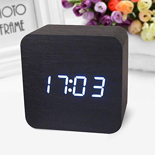 Alarm Clocks for Bedrooms - Wooden Digital LED Desk Alarm Clock Acoustic Control Sensing Clock Desktop Clock Electronic Digital Clock reloj despertador