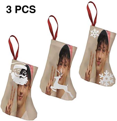 クリスマスの日の靴下 (ソックス3個)クリスマスデコレーションソックス Troye Sivan クリスマス、ハロウィン 家庭用、ショッピングモール用、お祝いの雰囲気を加える 人気を高める、販売、プロモーション、年次式