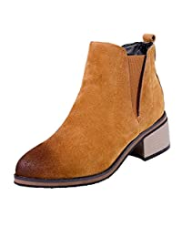yoyoiop Womens Round Toe Ankle Boots Elasticated High Heeled Shoes Ladies Short Boots